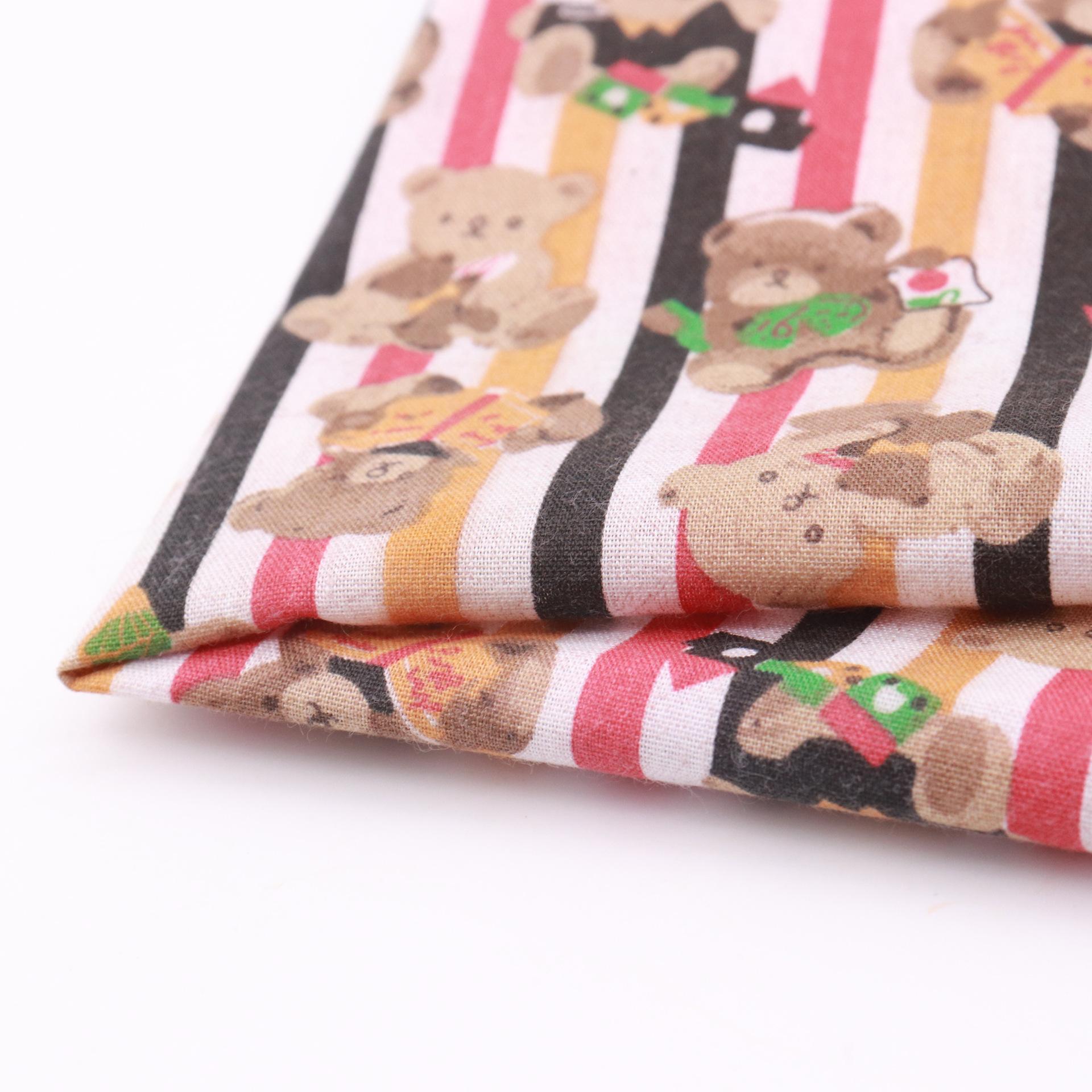HUASHIJIA Polyester cotton printed fabric blended bear cartoon factory direct sales plain fabric bag