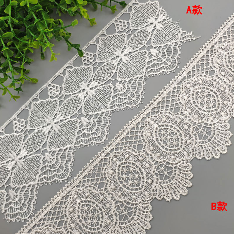 FUHONG Water soluble embroidery bar code white polyester lace DIY skirt mosquito net accessories lac