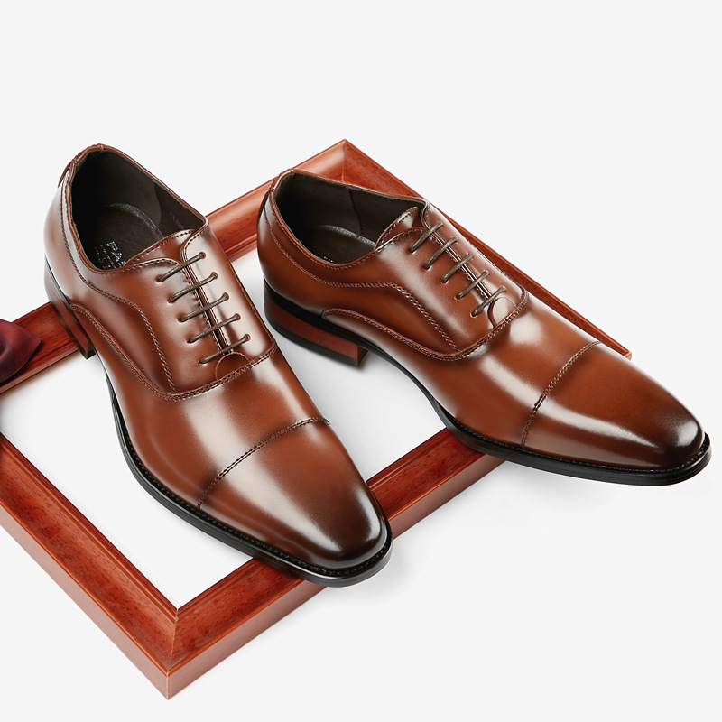 RECOBA 2020 new leather business shoes men's classic three joint formal shoes gentleman office wedd