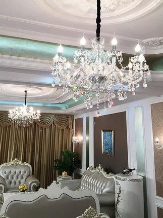 Bóng đèn nến Đèn chùm phong cách châu Âu chiếu sáng phòng khách hiện đại tối giản đèn pha lê nến đơn