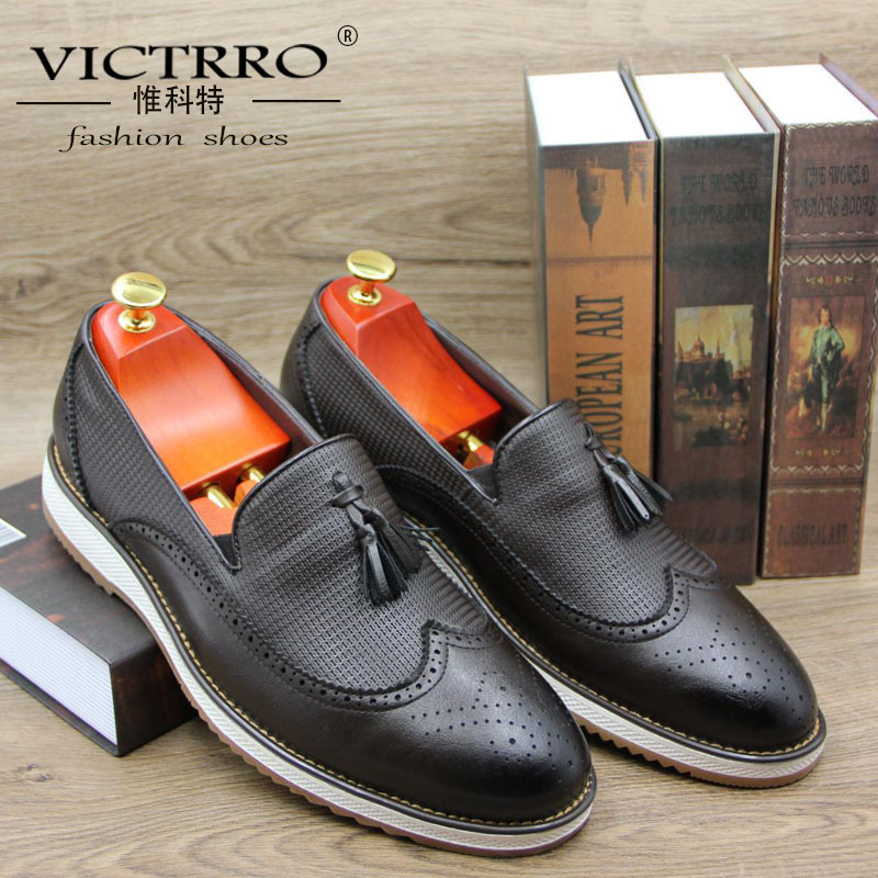 VICTRRO New hand polished and carved block pointed leather shoes British gentleman Liu Su Lefu shoes