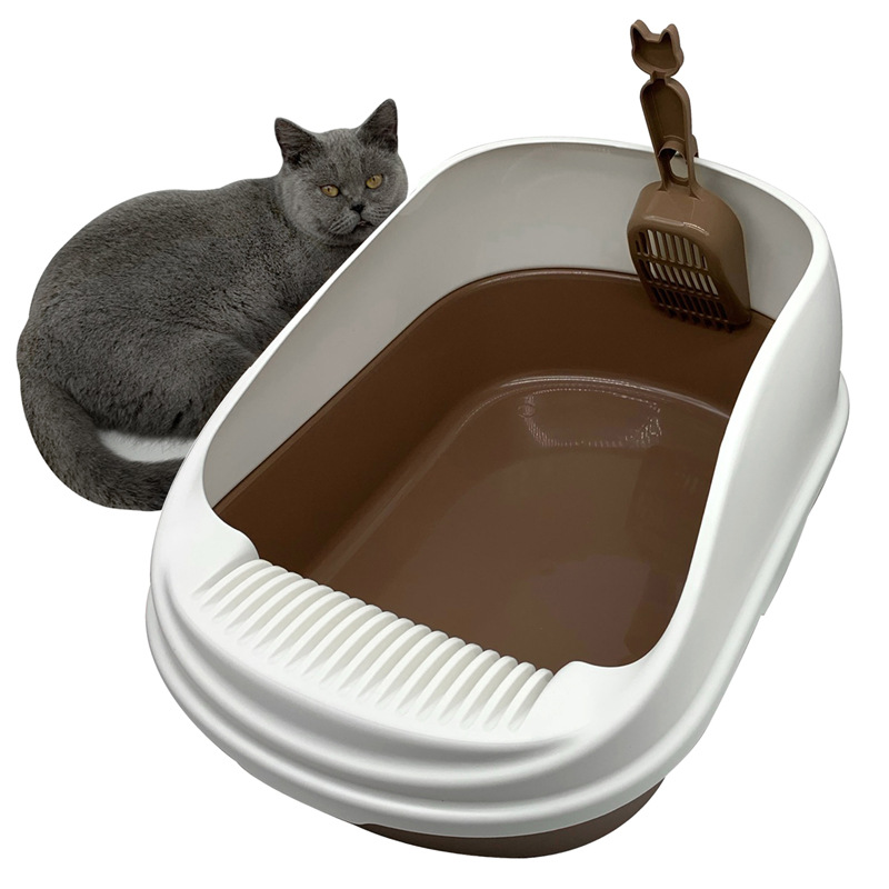 Thickened plastic extra large cat toilet is solid and can be disassembled and cleaned. Semi closed c