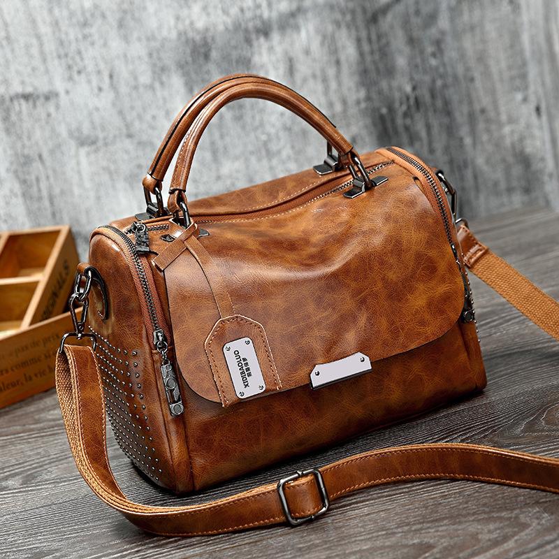 Túi xách Thời trang mới cổ điển bằng da sáp dầu
