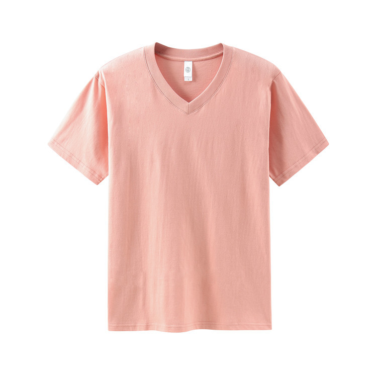 White V-Neck t-shirt men's and women's pure cotton pure color seamless with loose and simple colle