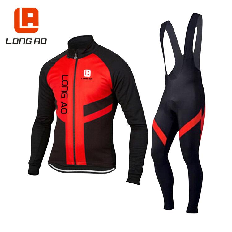 Bộ đồ thể thao đi xe đạp áo dài tay kèm quần yếm dành cho nam .