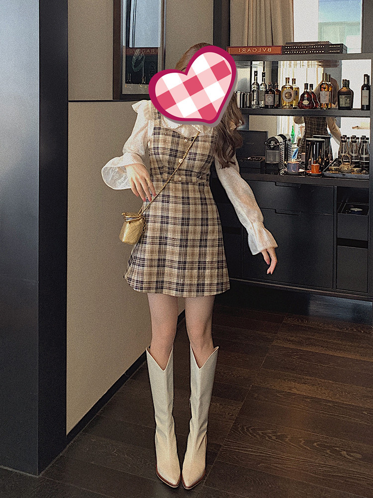 Set đầm phối áo sơ mi ren kiểu dáng dễ thương cho bạn nữ