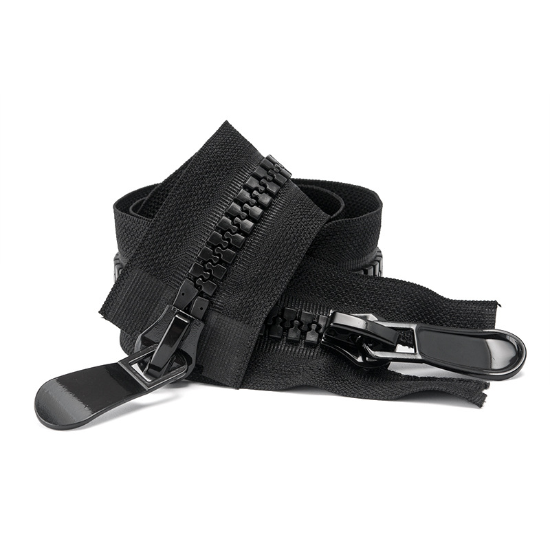 Long down jacket zipper No.8 resin 15 two way double open double head large zipper head accessories