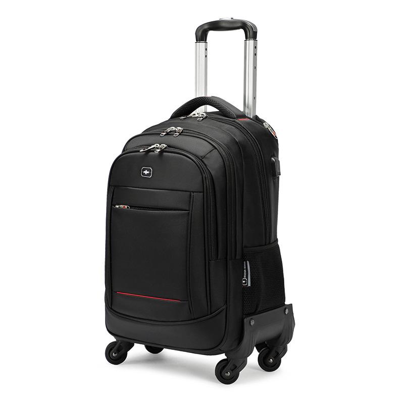 Túi hành lý du lịch có thanh kéo và bánh xe đẩy .