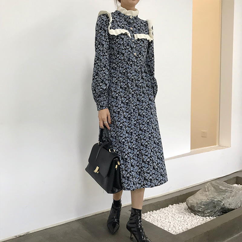 French minority Hepburn style long skirt 2020 new style thin with coat floral dress for women autumn