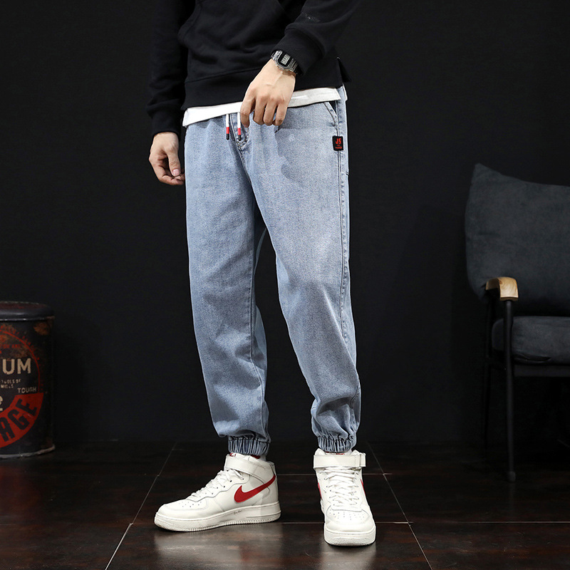 Thickened work clothes jeans men's autumn winter fashion brand Harlem casual large corset pants loo