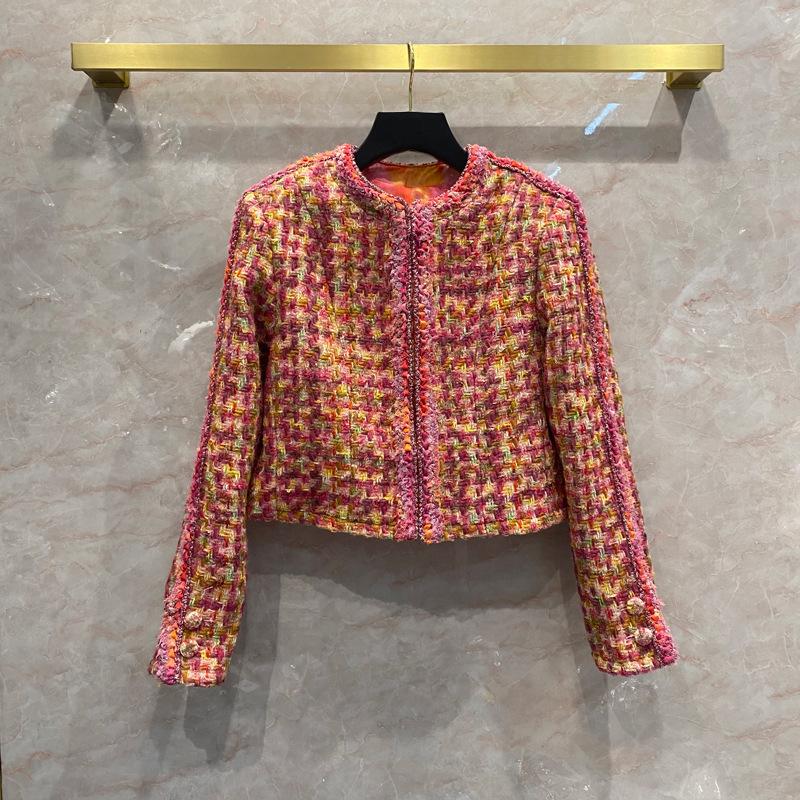 Wool woolen Short Jacket Women's autumn and winter new color woven silk lining bottom chain cardiga