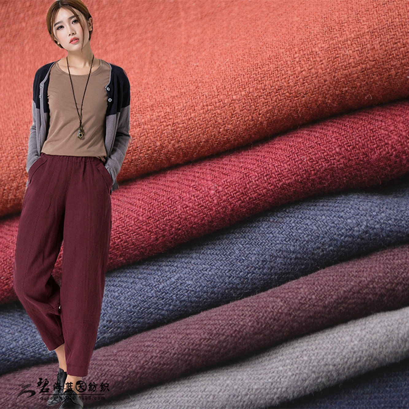 Thickened 8 * 8 pure ramie twill ramie fabric l034 autumn winter pants suit coat fabric