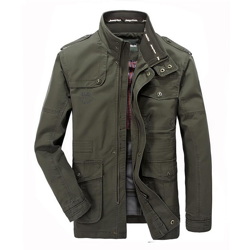 Spring and autumn thin men's jacket men's casual Multi Pocket medium length jacket