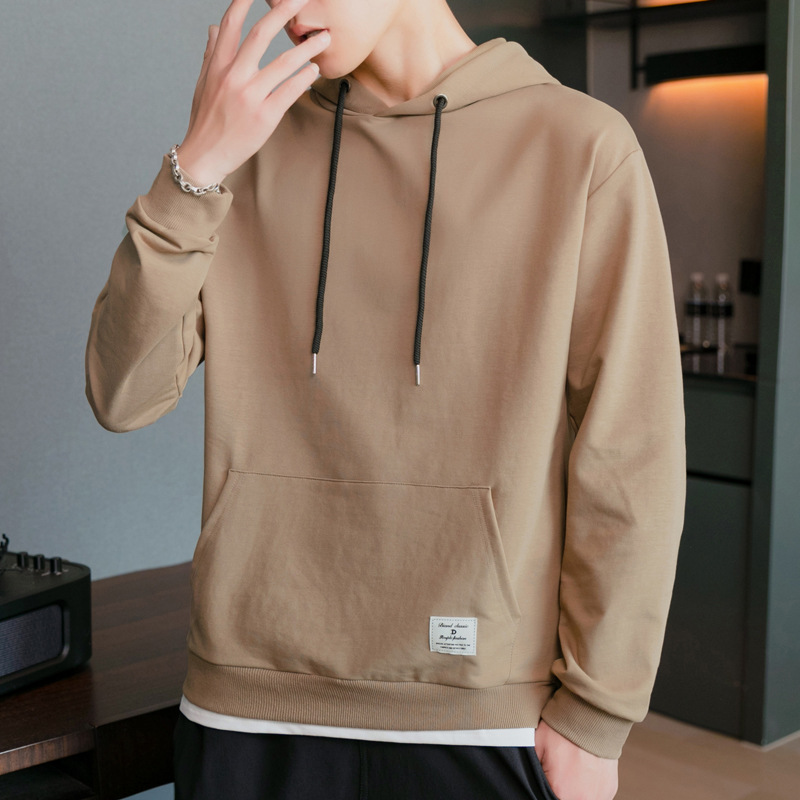 Men's Hooded Sweater autumn and winter new solid color split fake two piece fashion contrast patchw