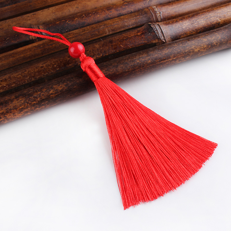 RUNZHEN Vertical small hanging spike anti wrinkle superfine polyester ice silk tassel fan bookmark t