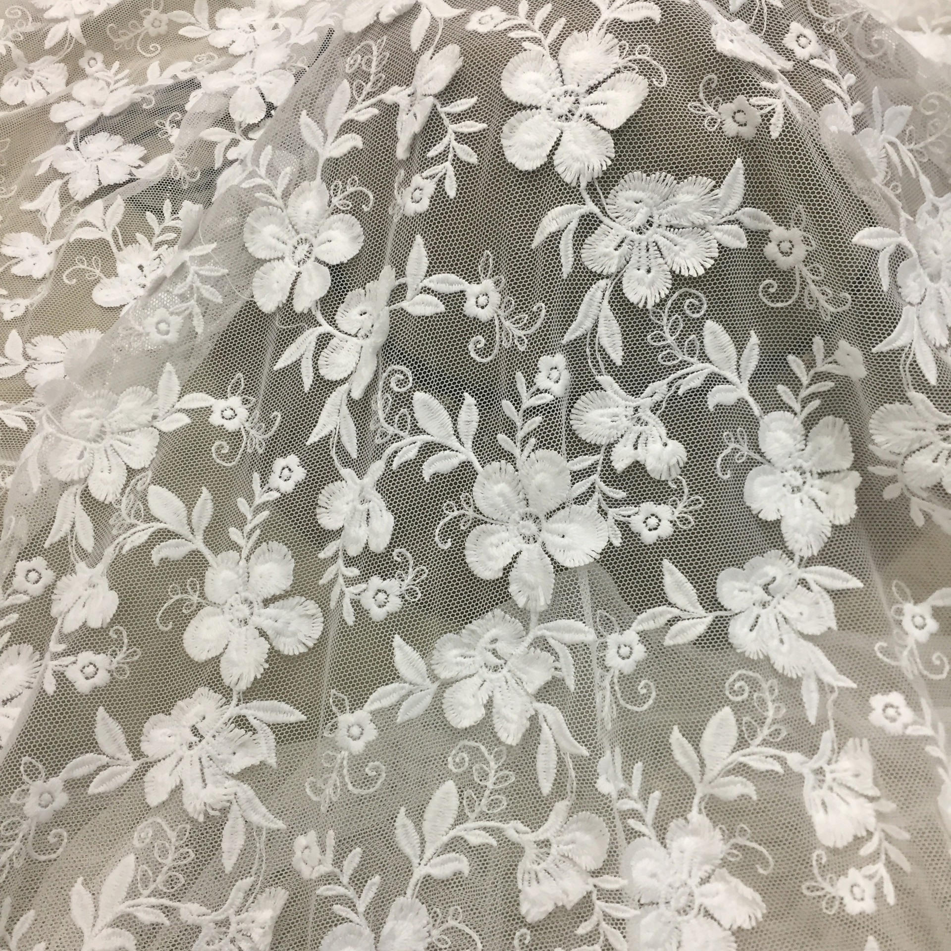 LIANYING Water soluble milk silk screen fabric mesh 3D flower children's wedding dress embroidered
