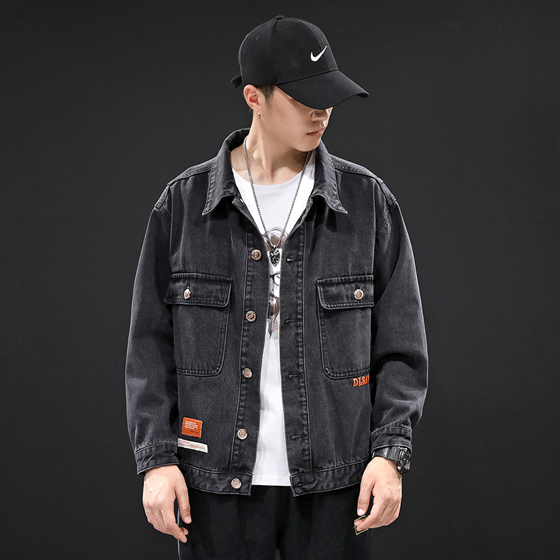 Japanese denim coat men's autumn and winter new black fashion youth slim and handsome student jacke