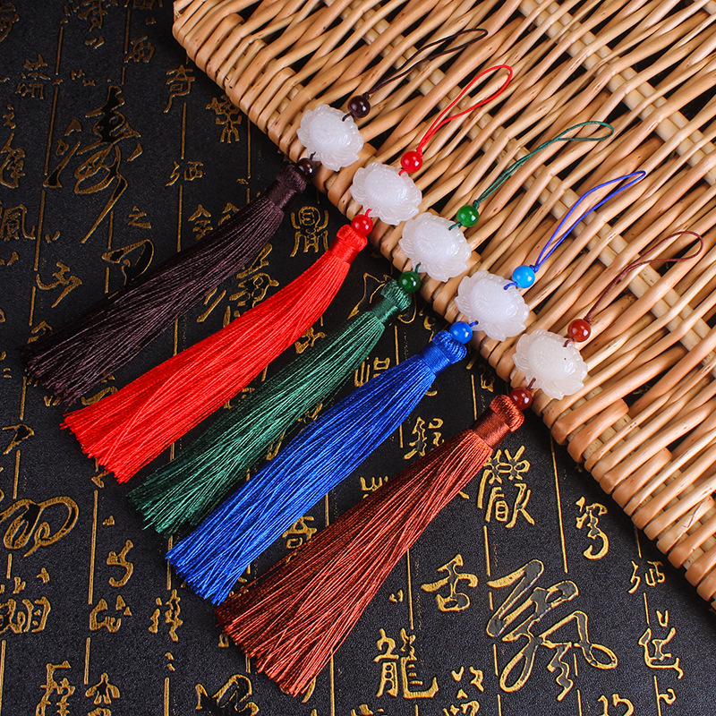 RUNZHEN Fan tassels white jade lotus hanging ear ancient Chinese clothes pressed tassel fan falling