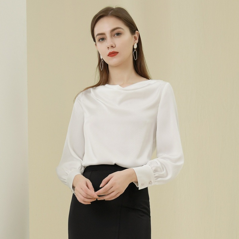BAIZI 2021 spring new Korean style women's straight tube slim top with foreign air pile Neck Long S