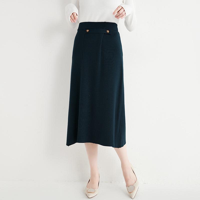 Temperament knitted skirt for women's autumn / winter 2020 mid long solid color slim skirt Korean f