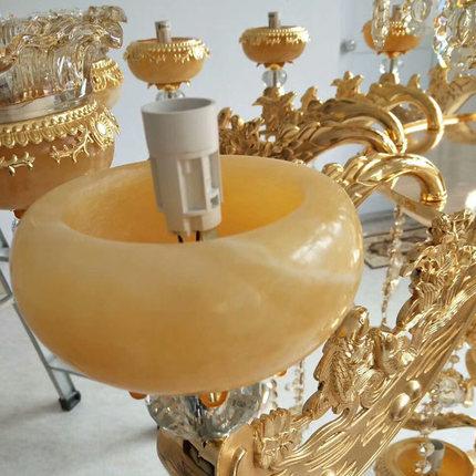 Bóng đèn nến Phong cách Châu Âu phòng khách ngọc pha lê đèn chùm ánh sáng nến biệt thự tòa nhà song