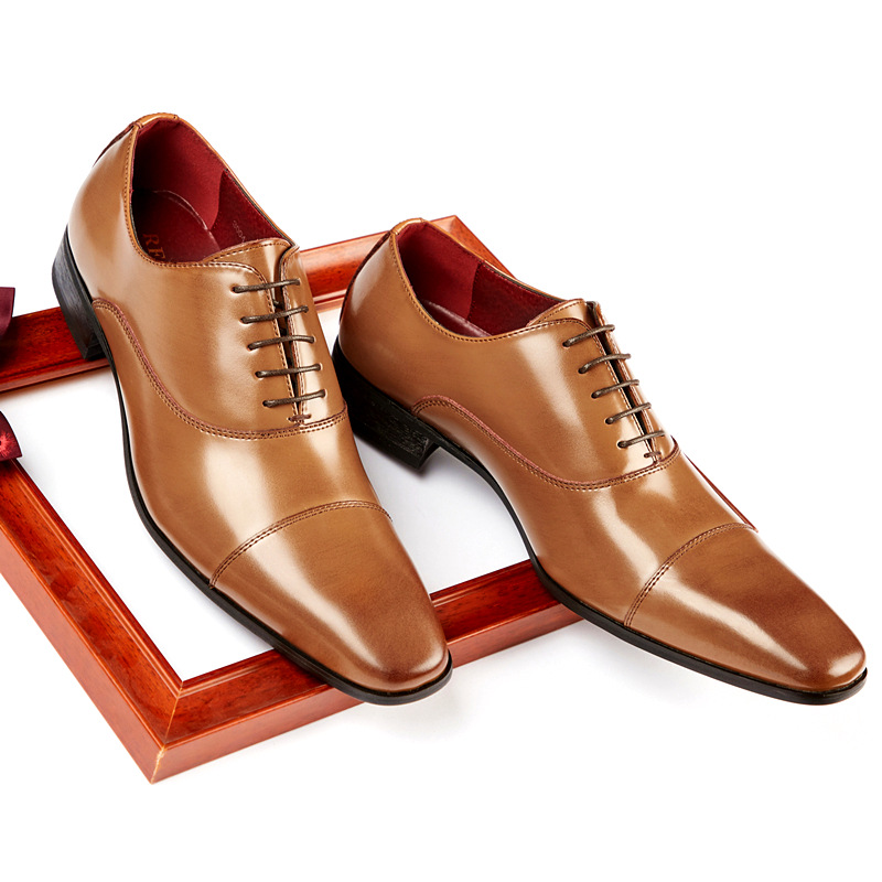 RECOBA Japanese business leather shoes men's formal shoes three joint leather Sergeant gentleman si