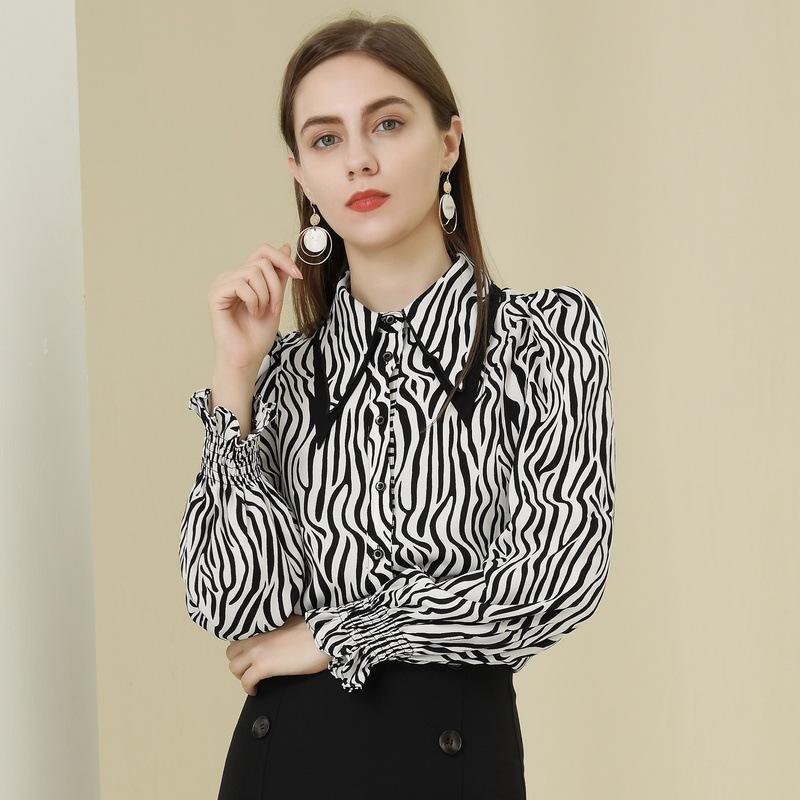 BAIZI Spring 2021 new women's Leopard Print Long Sleeve Lapel fashion versatile design straight tub