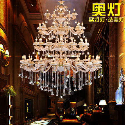 Bóng đèn nến Đèn kiểu châu Âu hợp kim kẽm nến đèn chùm pha lê phòng khách khách sạn biệt thự song lậ