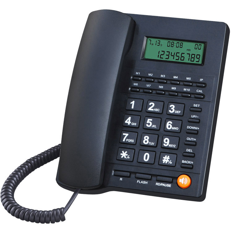 Shenzhen telephone manufacturer office home phone call display telephone battery free LCD brightness