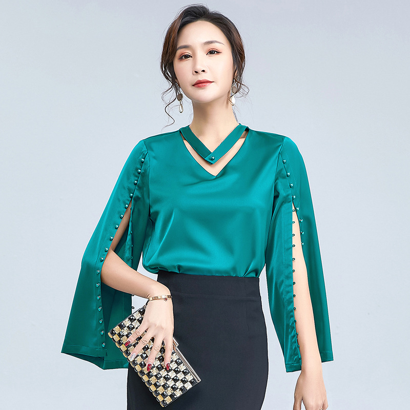 2021 spring new women's V-neck flared sleeve temperament foreign style chiffon shirt solid color el