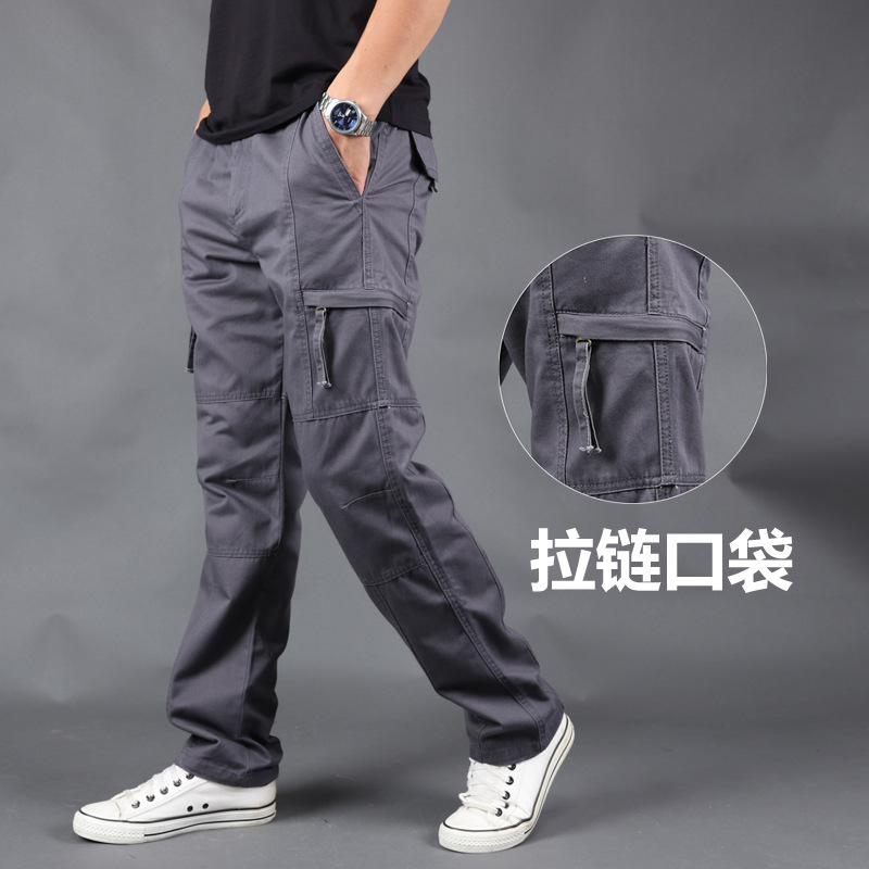 New casual pants men's spring and autumn large Multi Pocket overalls men's fashion straight tube l
