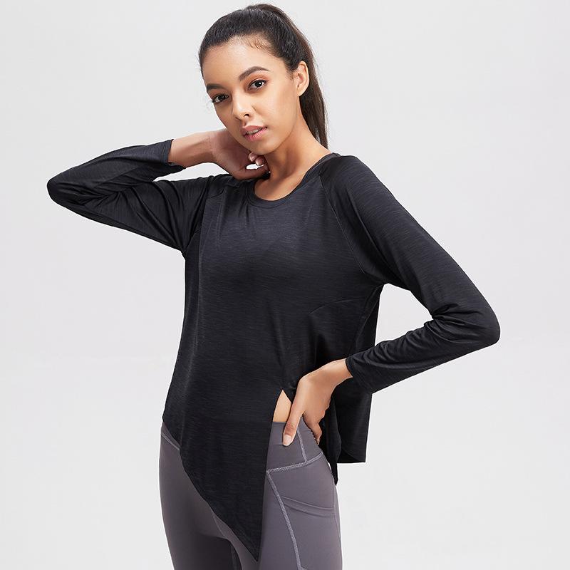 EUJR Yoga dress women's spring and autumn gym blouse long sleeve loose lightweight sports top net r