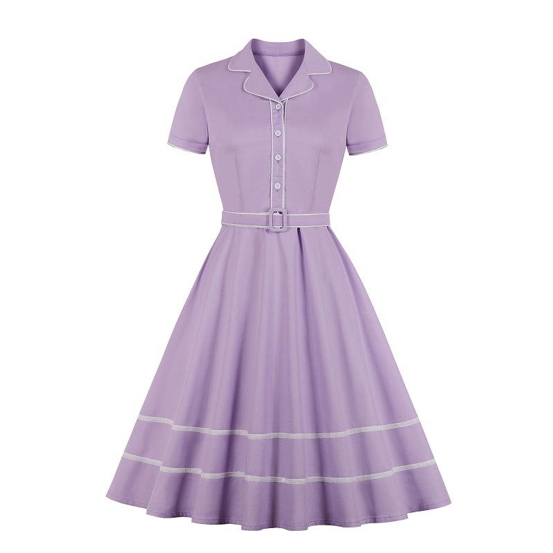 2020 cross border women's spring new short sleeve Lapel ribbon solid dress