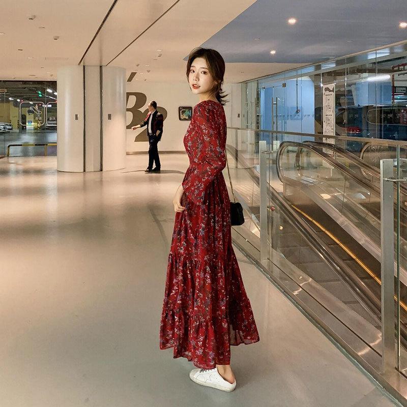 Spring long sleeve dress 2020 new women's dress with waistline showing thin broken flower chiffon l