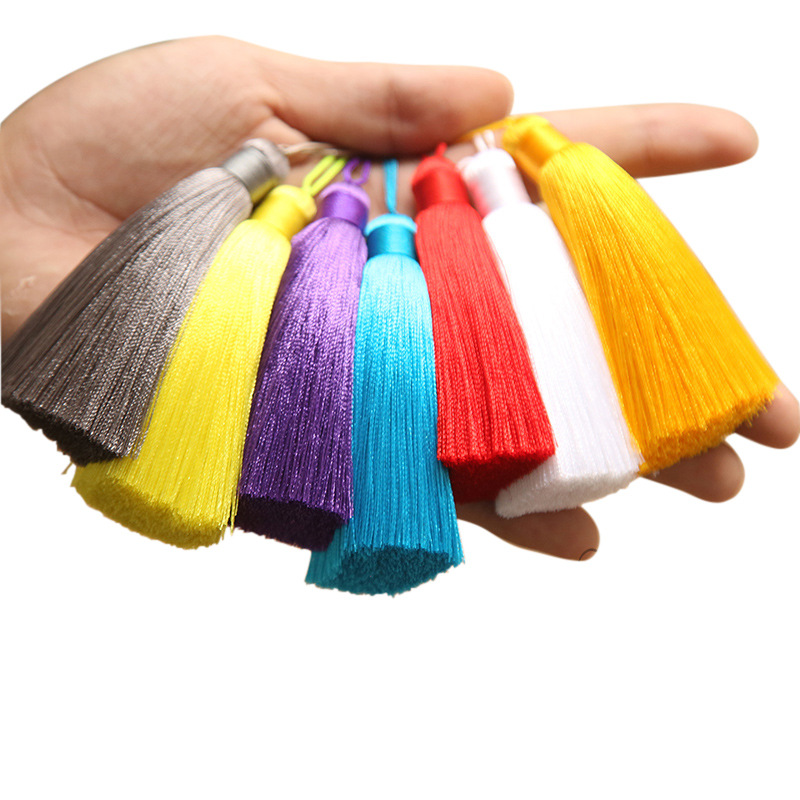 Hanging ear 15cm tassel exquisite rayon silk car hanging tassel ice silk Crystal Bag DIY accessories