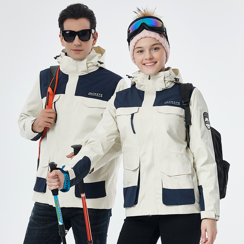 EXPLORE SPOOR Men's and women's fashion three in one or two full heat sealed couple's Fleece Jack