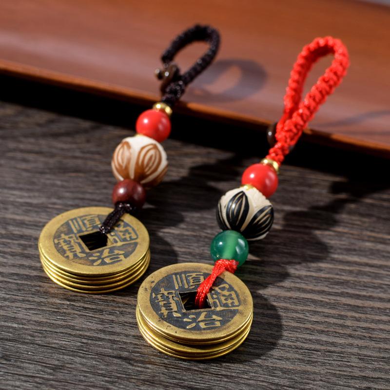 TFBL Car pendant creative five emperor money car key chain car safety charm couple gift bag Pendant
