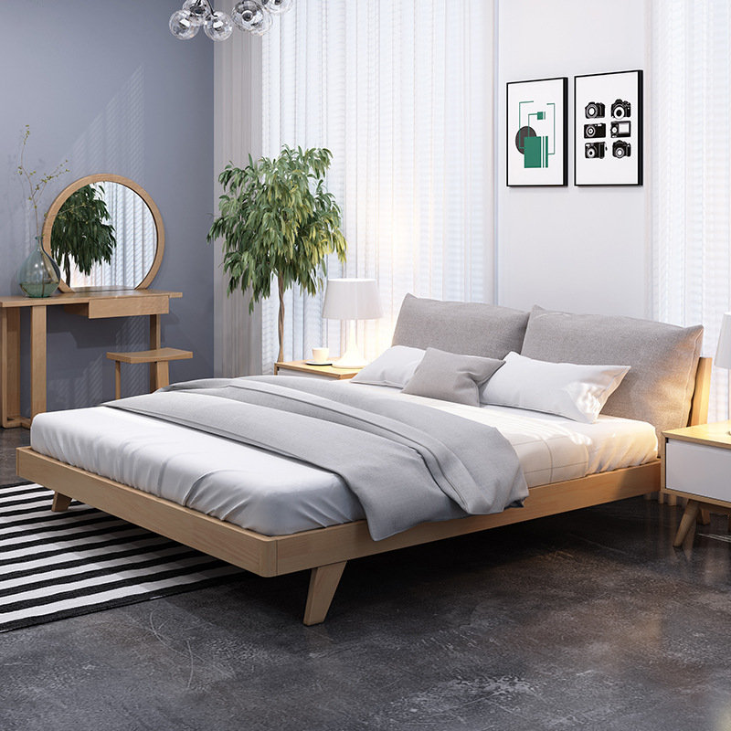 DEERHUI Nordic furniture solid wood bed rubber wood simple soft bed manufacturers direct modern econ