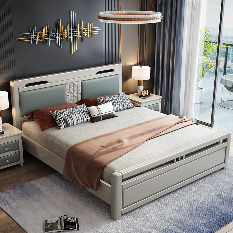 All solid wood bed modern simple bedroom new Chinese 1.5m big bed Nordic Light luxury master bedroom