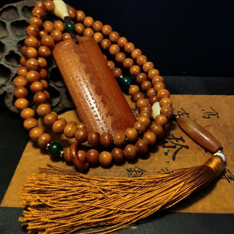 Cattle bone camel bone weathering deep fried pattern Tibetan barrel beads cattle bone hand string Bu