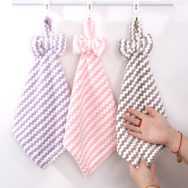 OUMASHI Coral velvet towel hanging bow kitchen toilet soft absorbent lovely towel hanging