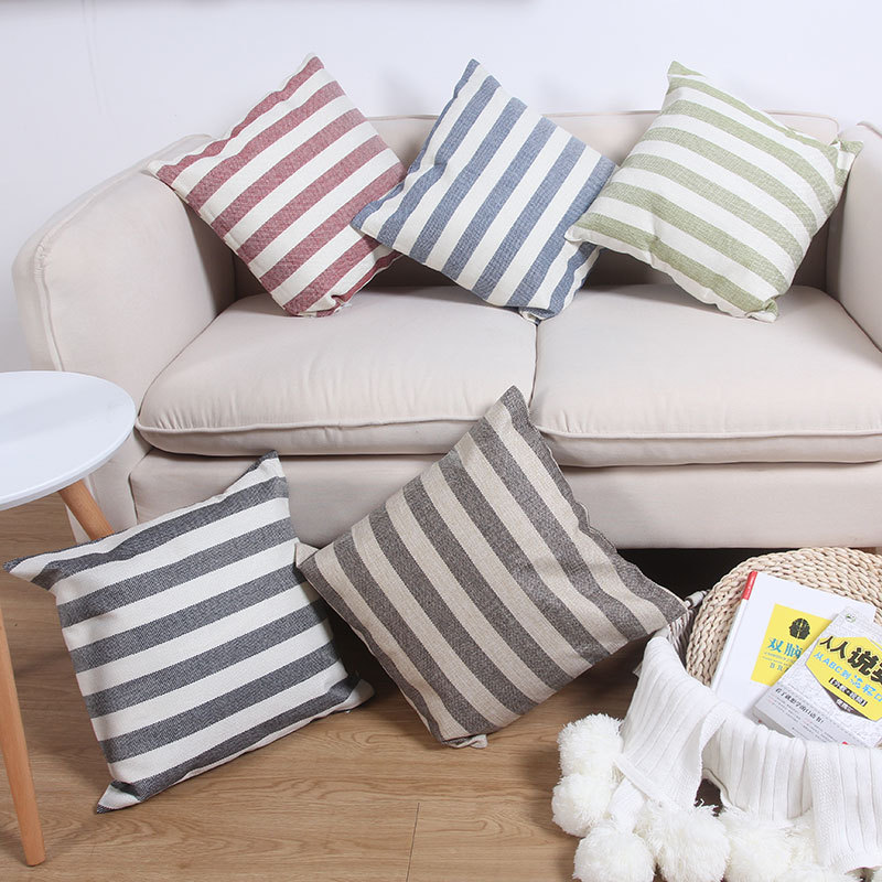 RUIBANG Japanese simple stripe pillow sofa versatile cushion bedside pillow office pillow