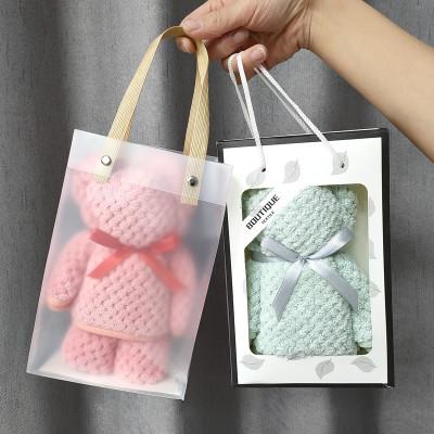 XINYUANYOUPING khăn lau tay Khăn hình gấu, nhung san hô dệt kim sợi dọc, lưới dứa, mềm mại, thấm hút