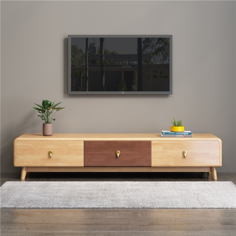 Nordic style all solid wood TV cabinet modern simple small family living room light luxury minimalis