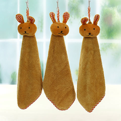 Rabbit head coral velvet towel super soft water absorption is particularly lovely, adults and childr