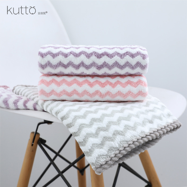 KUTTO Korean cationic water ripple superfine coral hair towel super absorbent household face towel