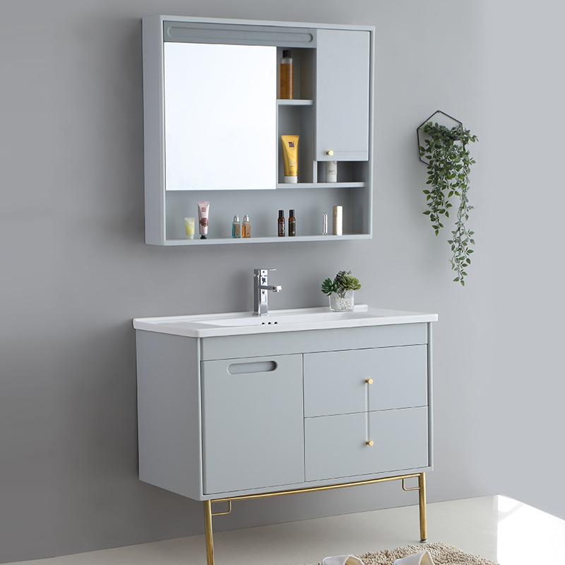 SHUGEMAN Modern simple solid wood bathroom cabinet mirror cabinet combination floor type light luxur