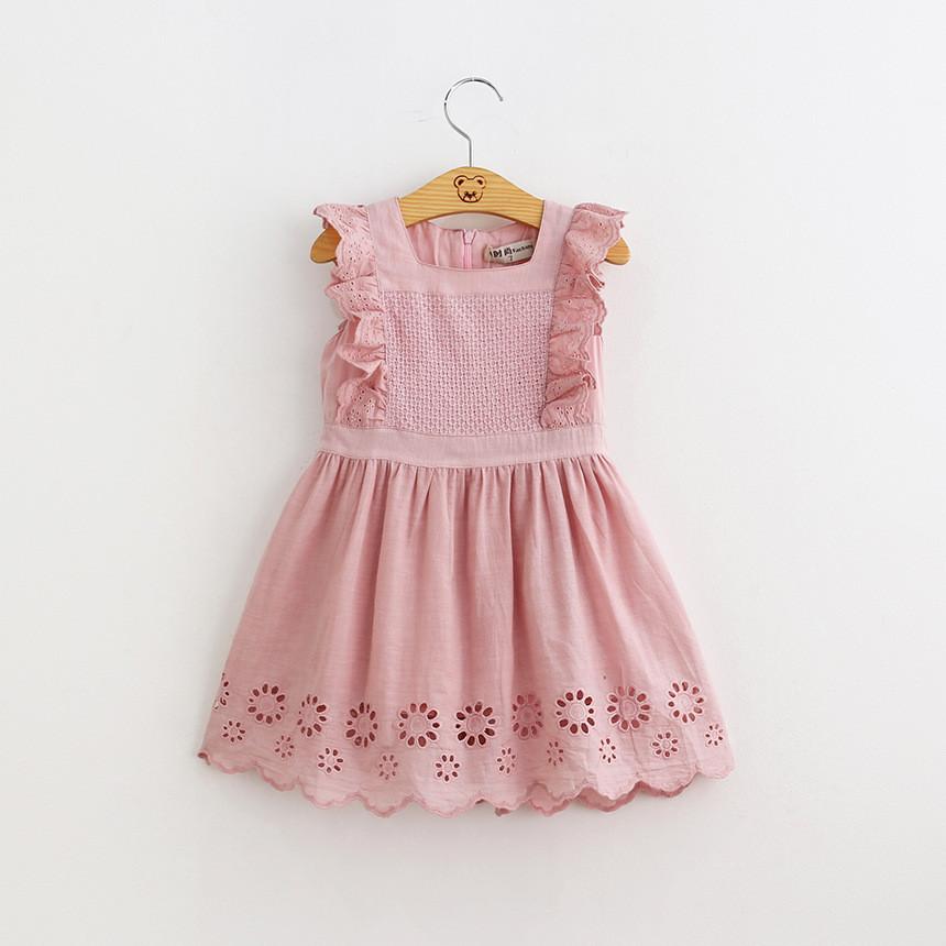Hurave New 2020 summer girls' dress pure cotton children's hollow out vest skirt summer princess s