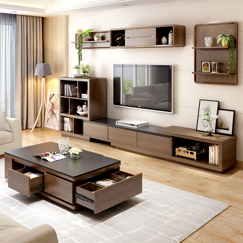 Northern Europe fire stone tea table TV cabinet simple living room set combination modern small fami