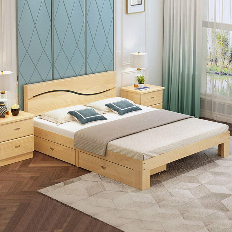 YAZHI Solid wood bed modern simple double bed master bedroom 1.8m economical wooden bed 1.5m simple